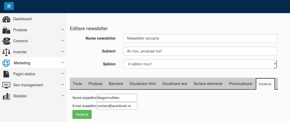 Upload newsletter